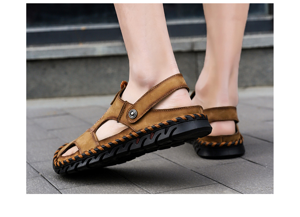 Summer Men's Hollow Sandals Soft Bottom Large Size Slippers - Brown 2020 41