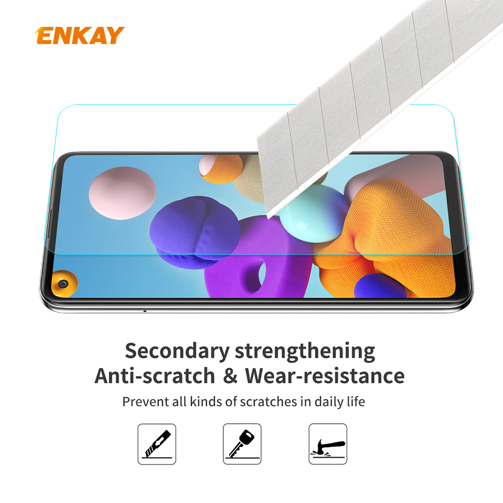 ENKAY Tempered Glass Protective Film for Samsung Galaxy A21s 5pcs - Transparent