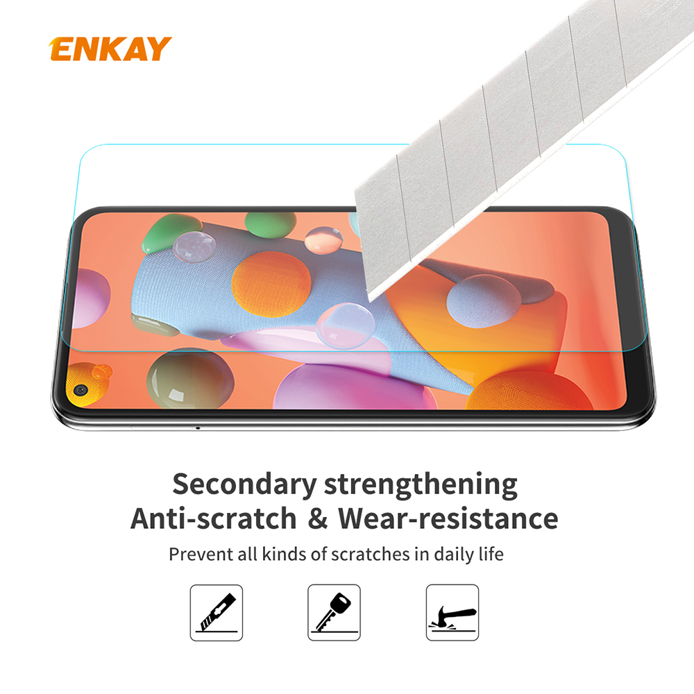 ENKAY Tempered Glass Protective Film for Samsung Galaxy A21 5pcs - Transparent