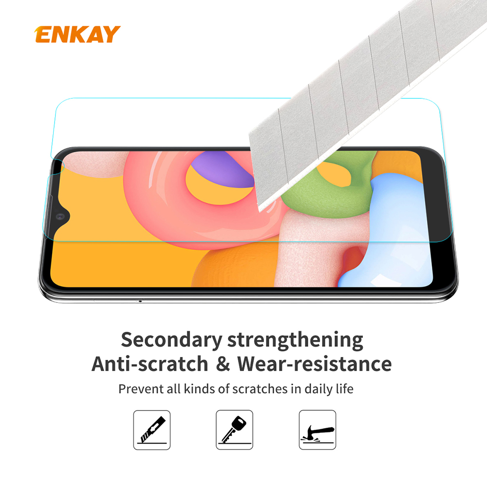 ENKAY Tempered Glass Protective Film for Samsung Galaxy A01 5pcs - Transparent