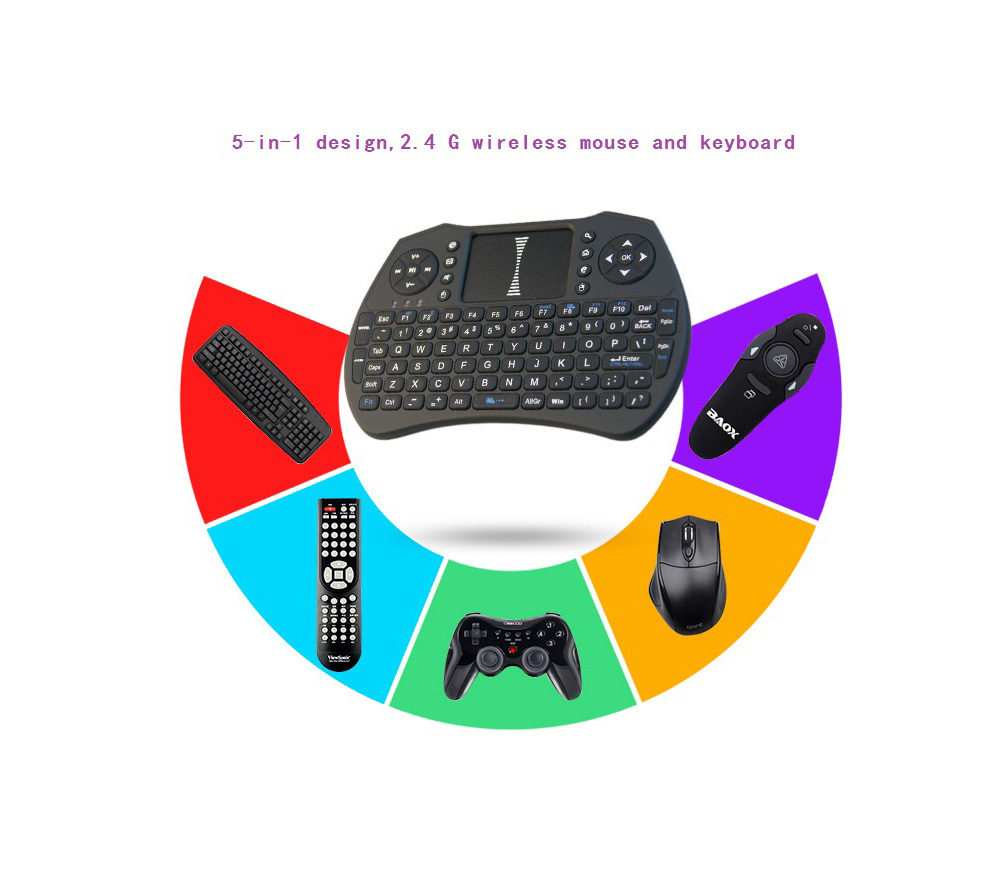 A8 Mini 2.4G Wireless Bluetooth Air Mouse - Black Standard Dry Battery