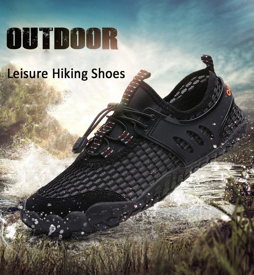 Summer Large Size Outdoor Leisure Hiking Shoes Men Upstream and Wading Shoes - Black EU 43