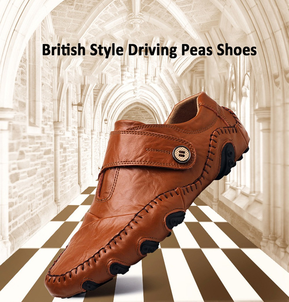 Men Large Size Casual Leather Shoes Low Top Flat Heel Round Toe British Style Driving Peas Shoes - Black EU 38