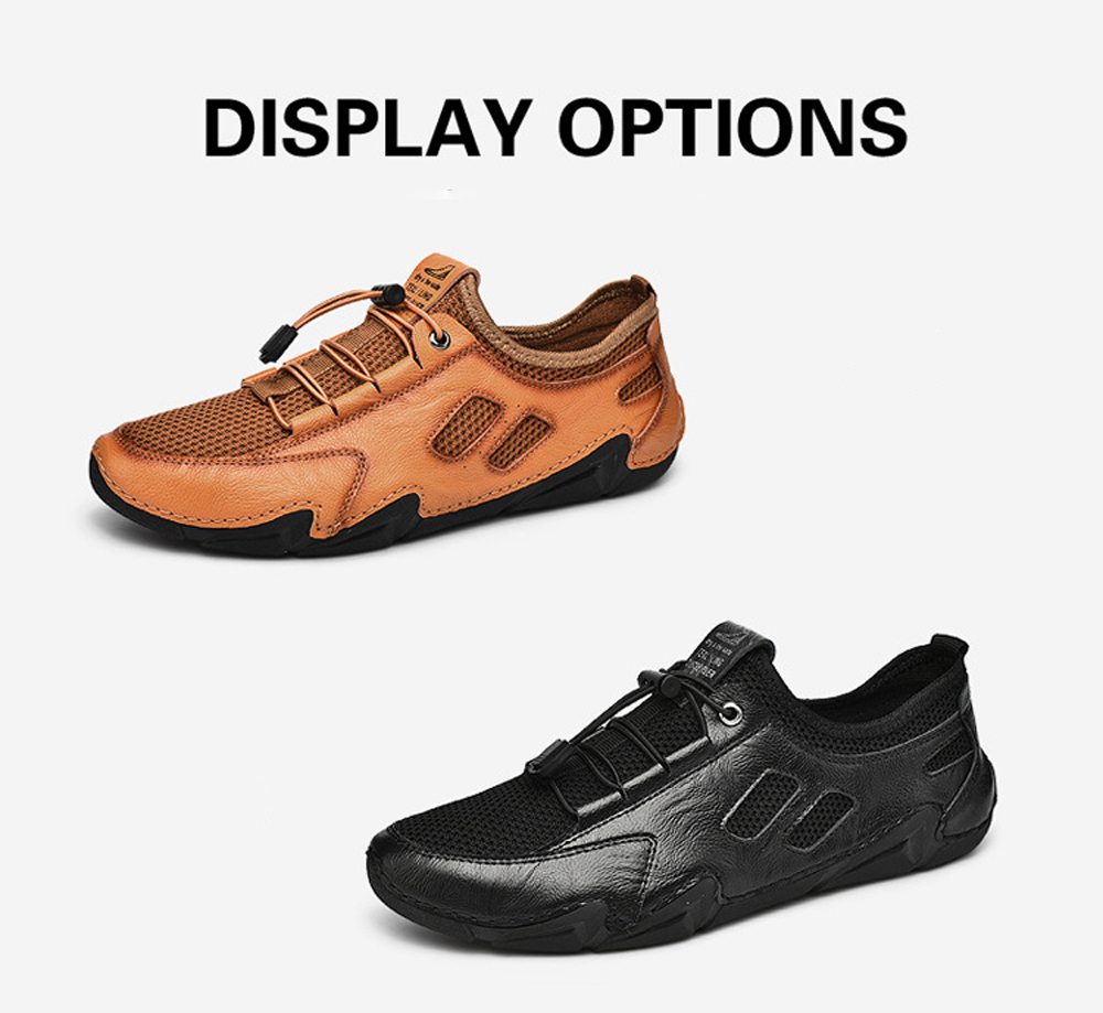 Men Shoes Large Size British Style Casual Octopus Driving Peas Leather Shoes - Black EU 42