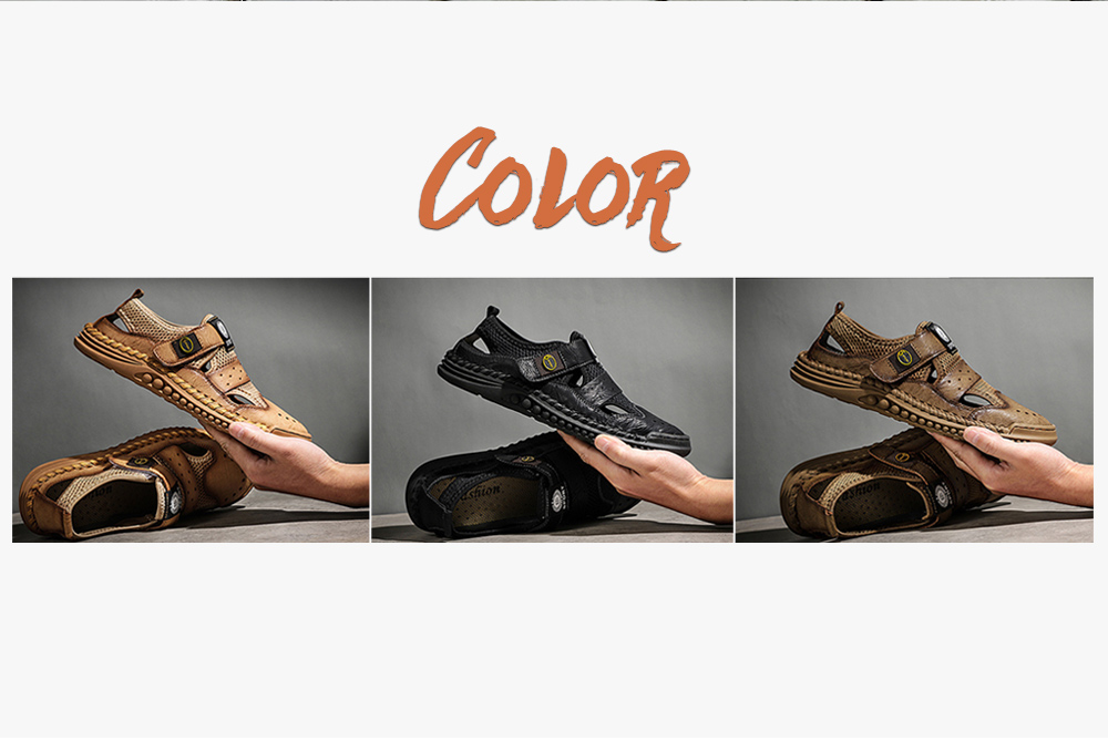 Izzumi 2021 Summer New Men's Sandals Outdoor Breathable Non-slip Casual Shoes Hollow Sandals And Slippers Large Size Beach Shoes Men - Khaki EU 40