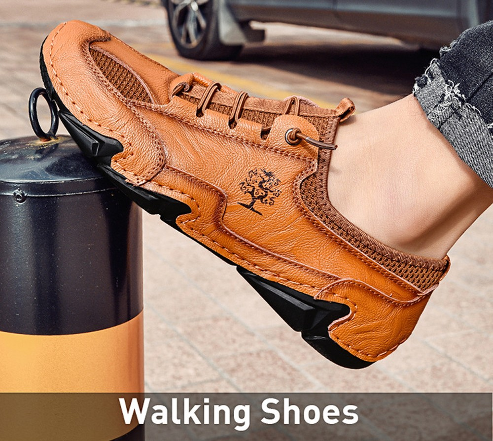 Men Flat Heel Leather Shoes Breathable Octopus Lightweight Lazy Peas Shoes - Brown EU 45