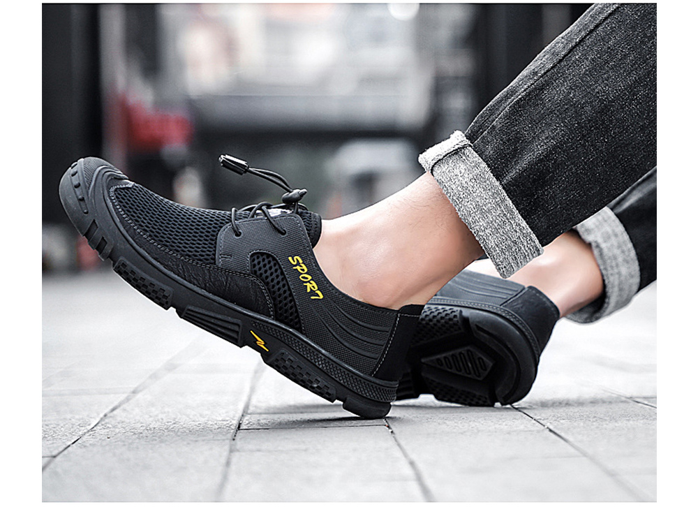 IZZUMI Outdoor Sports Casual Shoes Men Breathable Mesh Anti-slip Footwear Large Size - Gray EU 40