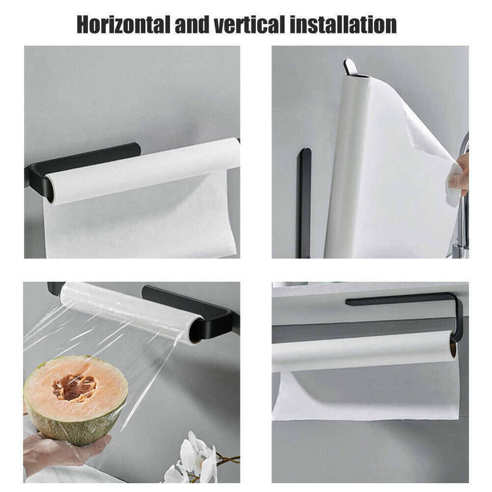 Bathroom Towel Rack Acrylic Roll Paper Tissue Box Hanger - Black
