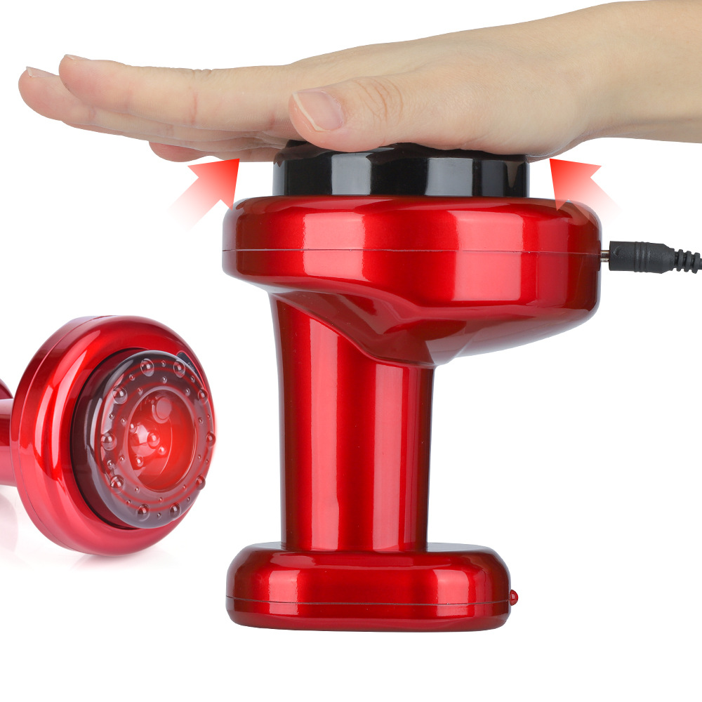 Electric Gua Sha Cupping Device Home Health Massager - Red US Plug (2-pin)