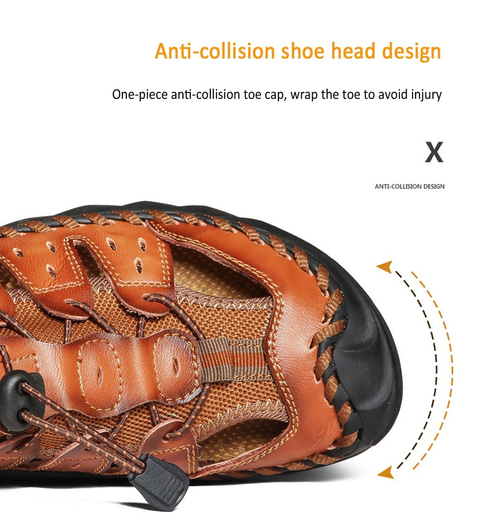 Men Beach Shoes Summer Outdoor Sandals Large Size Breathable Round Toe Stitching Casual Footwear - Brown EU 41