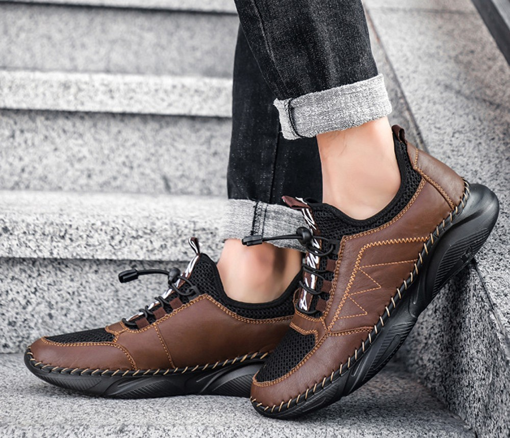Men Comfortable Leather Shoes Cowhide Outdoor Footwear Lazy Super Light Large Size Casual Footwear - Light Brown EU 44