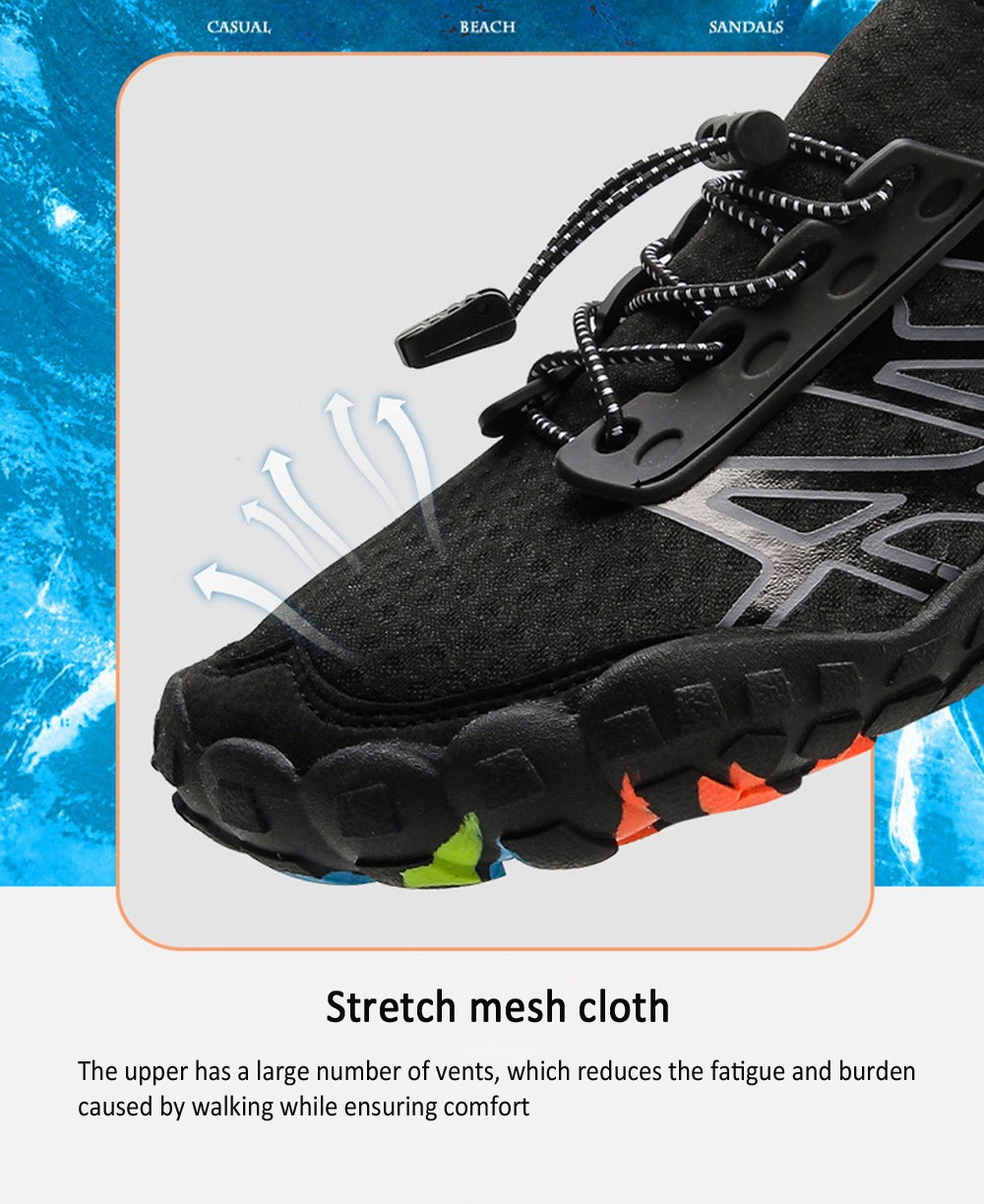 Outdoor Five Fingers Wading Hiking Couple Beach Shoes Quick-drying Snorkeling Swimming Upstream Men Shoes - Gray EU 42