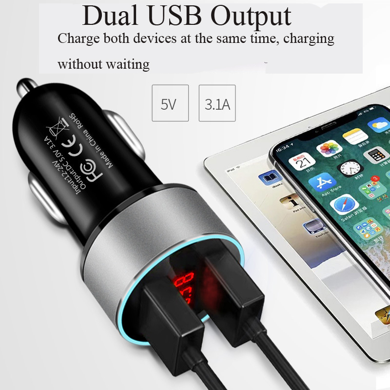 Multi-function Digital Display Car Charger 3.1A Dual Smart USB Car Charger - Black