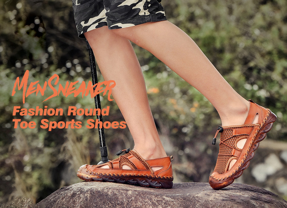 Men Sandals Summer Outdoor Breathable Mesh Hole Sports Casual Leather Shoes - Brown EU 43