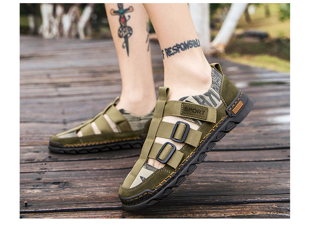 Men Sandals Round Toe Leather Hole Beach Shoes Outdoor Leisure Casual Footwear - Camouflage Green EU 47