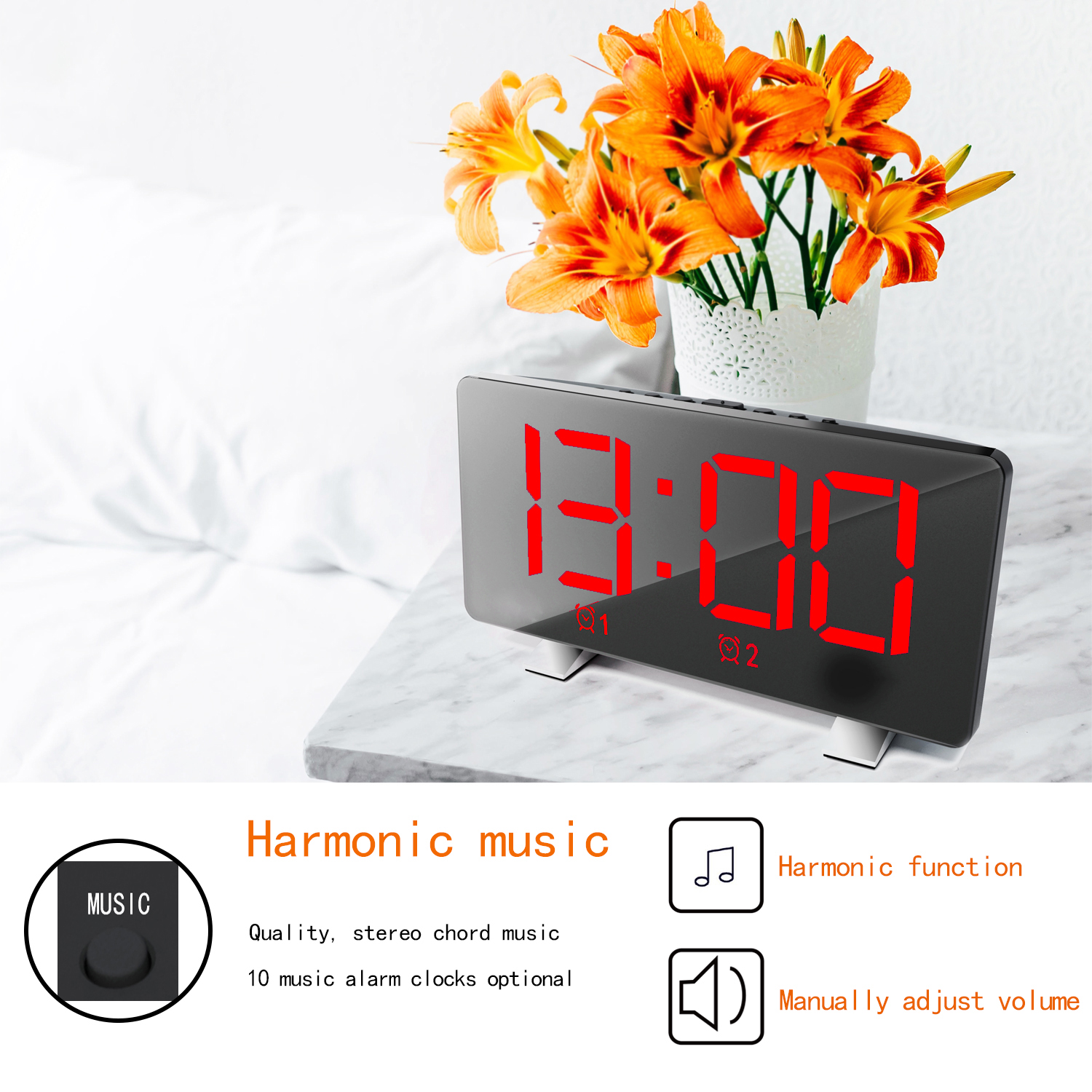 EN8830 LED Polyphonic Music Alarm Clock - Black Red Numbers