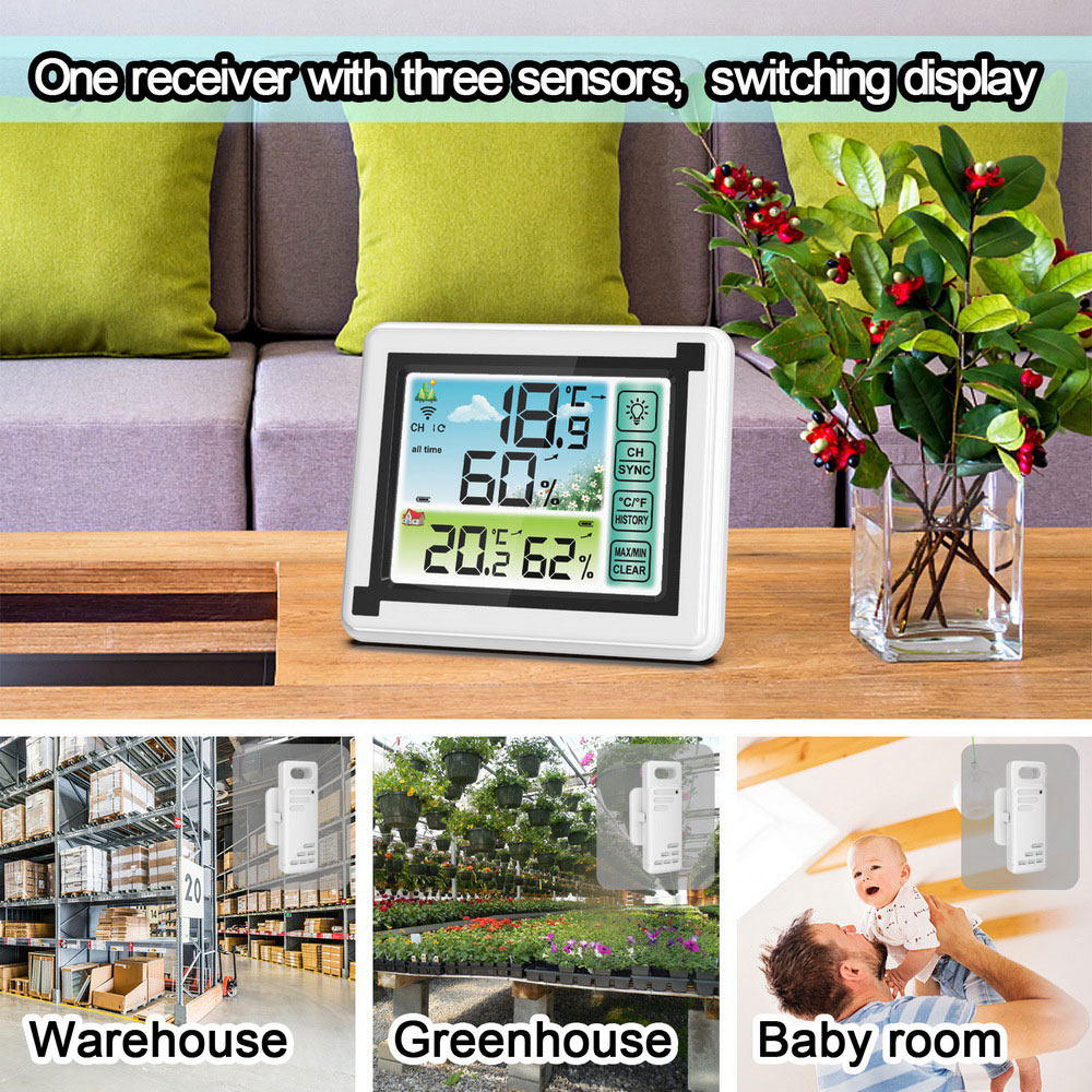 Color Screen Weather Clock Indoor and Outdoor Wireless Thermo-hygrometer - White One for one