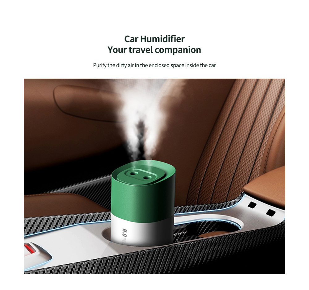 H05 USB Humidifier Two Outlets Spray Humidifier with Night Light for Home Office Dormitory Car Humidification Tool 350ml - Green