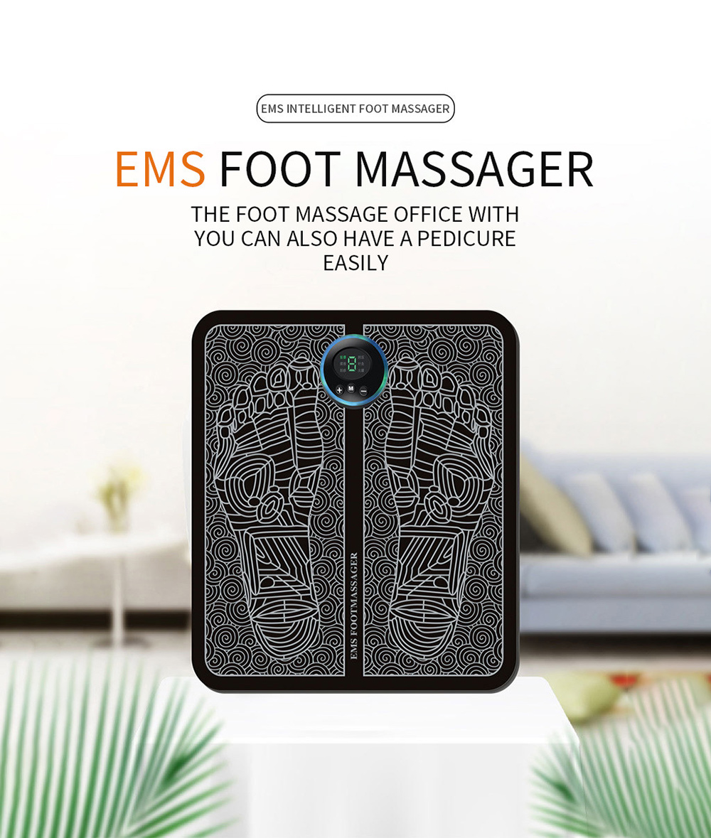 EMS Micro-electricity Smart Foot Pad Massager - Black Battery Model