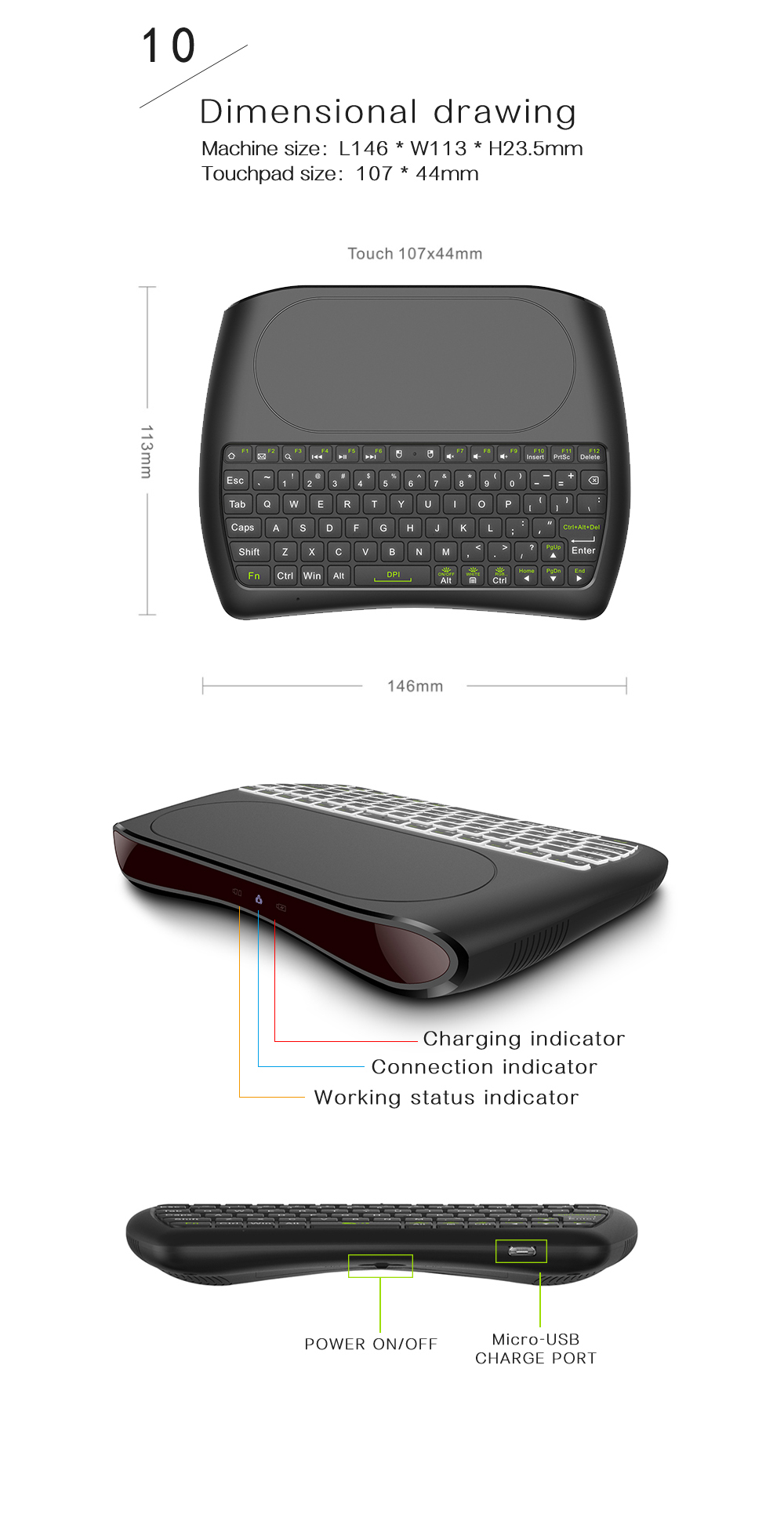 D8 Mini Air Mouse Large Screen Touchpad Mouse 2.4G Wireless Keyboard - Black Dry Battery Version