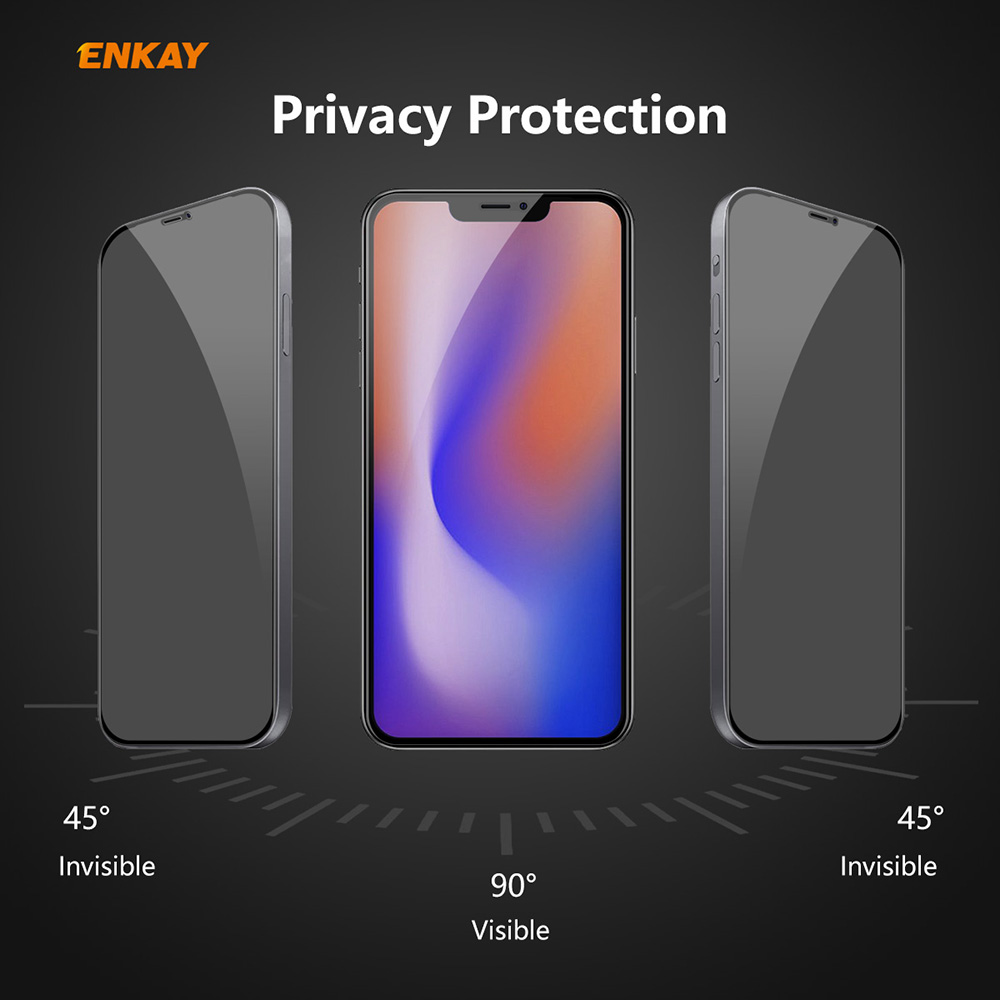 ENKAY Tempered Glass Screen Protector for iPhone 12 Pro Max 6.7 inch - Black