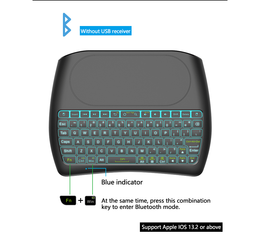 D8 Mini Key Air Mouse Large Screen Touchpad Mouse 2.4G Wireless Rechargeable Keyboard for Computer Android TV Box - Black