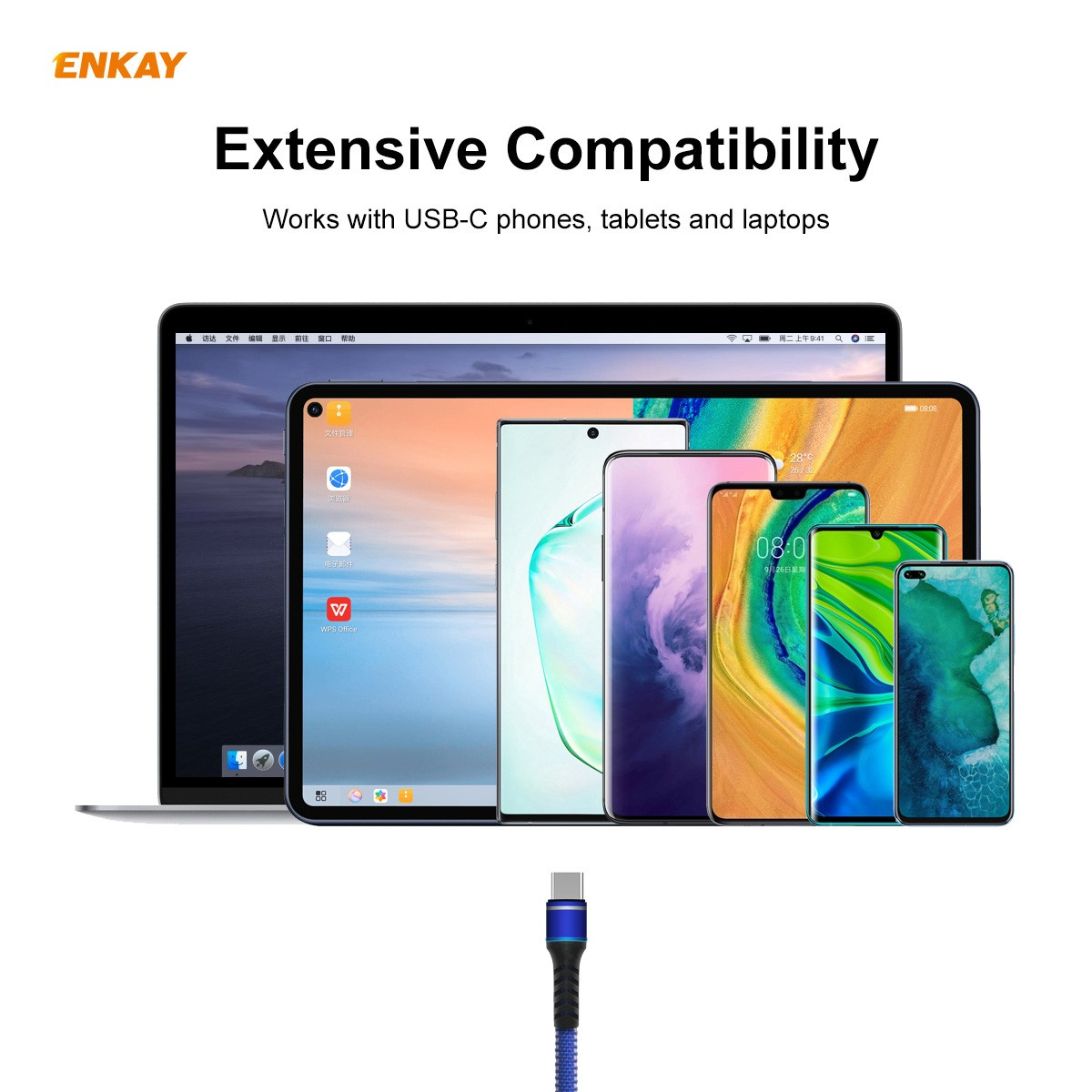 ENKAY ENK-CB107 USB 3.0 to Type-C Data Cable 1M - Blue