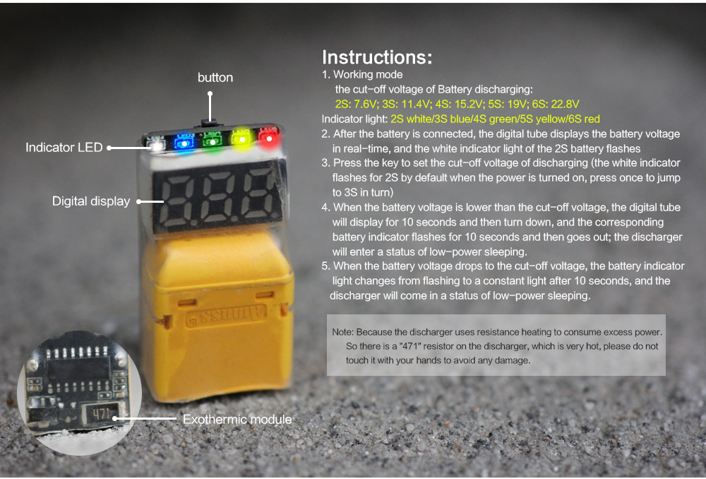 HGLRC Thor Lipo Battery Discharger - Yellow Thor Discharging Module