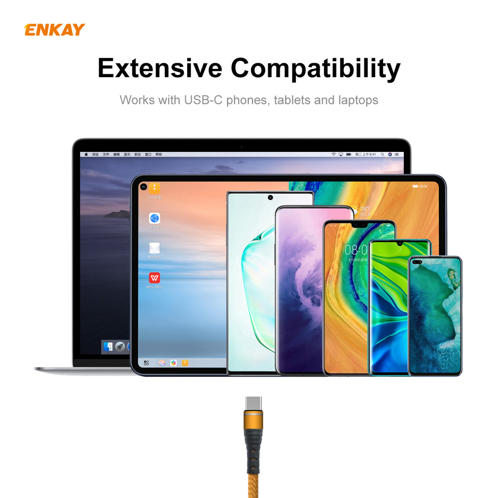 ENKAY ENK-CB108 USB 3.0 to Type-C Data Cable 1M - Golden