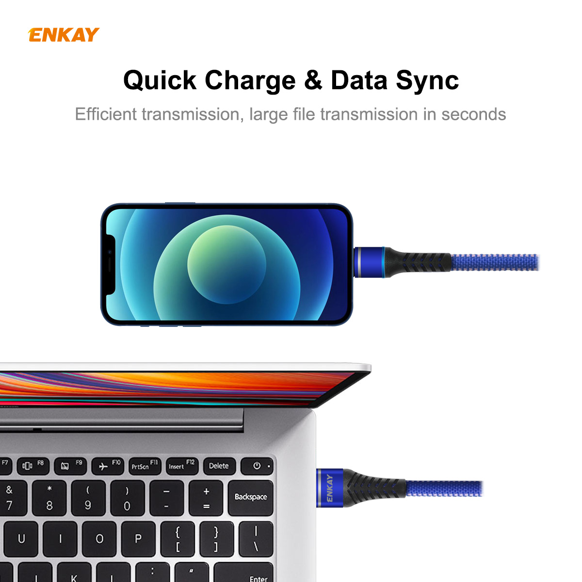 ENKAY ENK-CB207 USB 3.0 to 8-pin Data Cable 1M - Blue