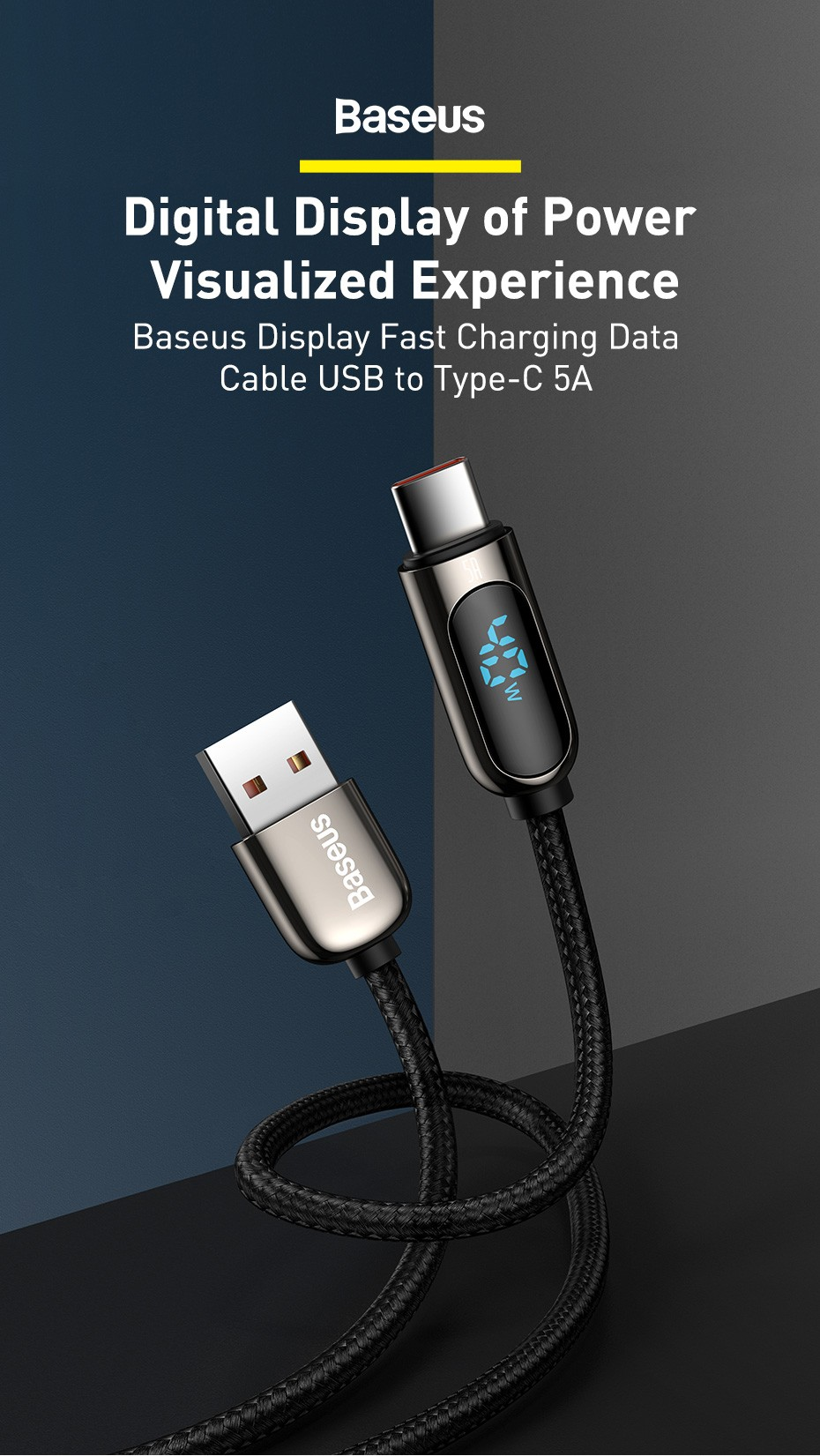 Baseus Digital Display Fast Charging Data Cable USB to Type-C Quick Charge Line 3.5A Smart Data Cable for Mobile Phone and Tablet - Black 1M