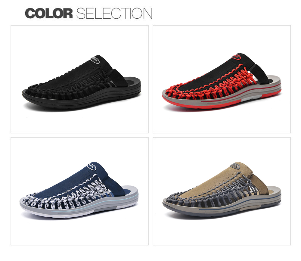 Men Sandals Summer Trend Round Toe Hole Beach Shoes Casual Personality Men Slippers Large Size - Red EU 41