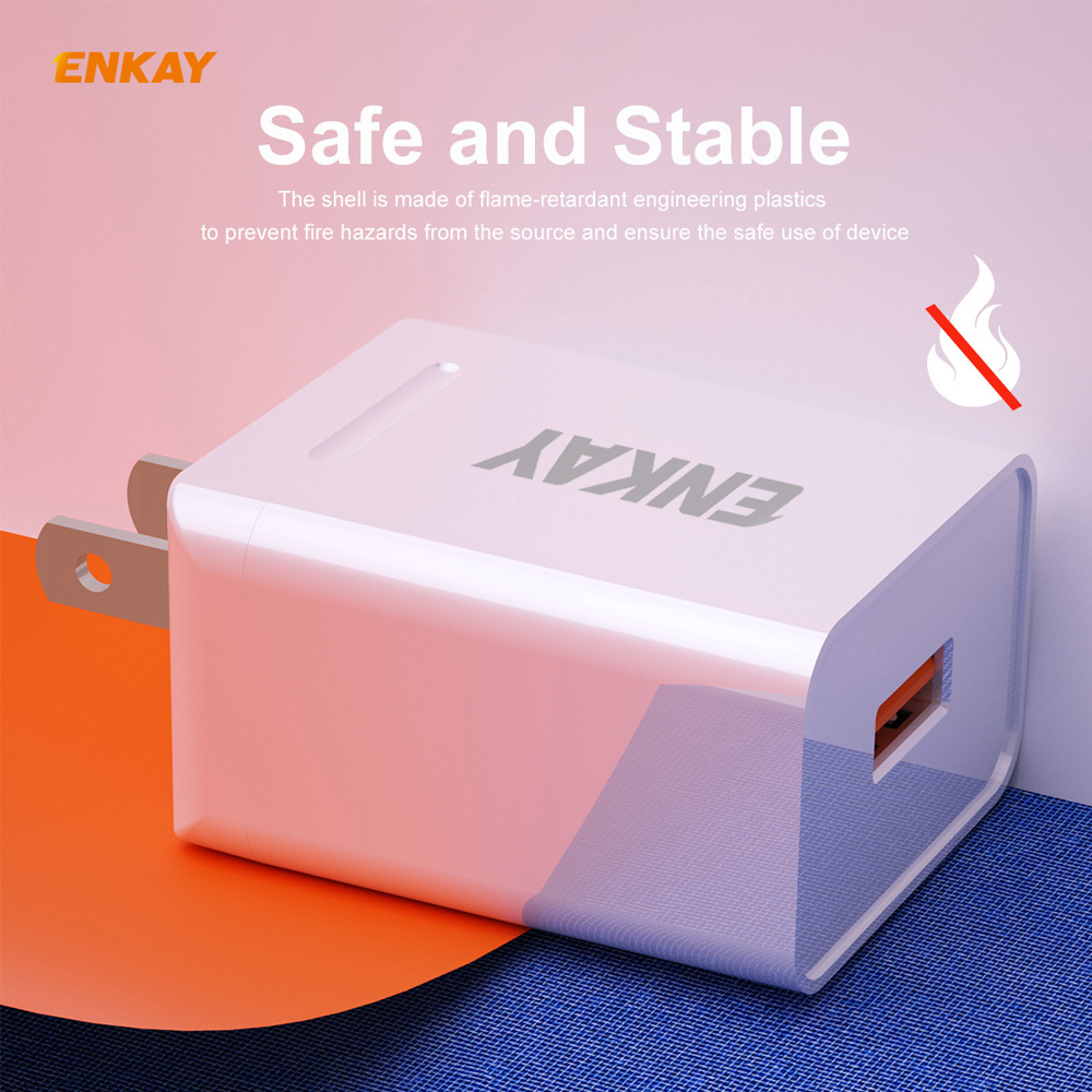 ENKAY Hat-Prince US Plug Kit USB 3.0 + Type-C Dual Ports Fast Charging Head 18W 3A Power Adapter Charger + 1m 3A Micro USB Cable - White