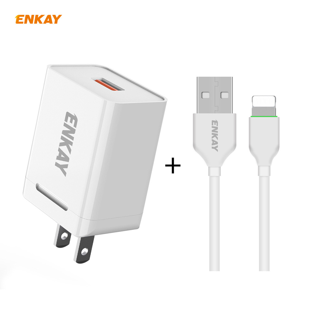 ENKAY Hat-Prince US Plug Kit USB 3.0 + Type-C Dual Ports Fast Charging Head 18W 3A Power Adapter Charger + 1m 3A 8-Pin Cable - White