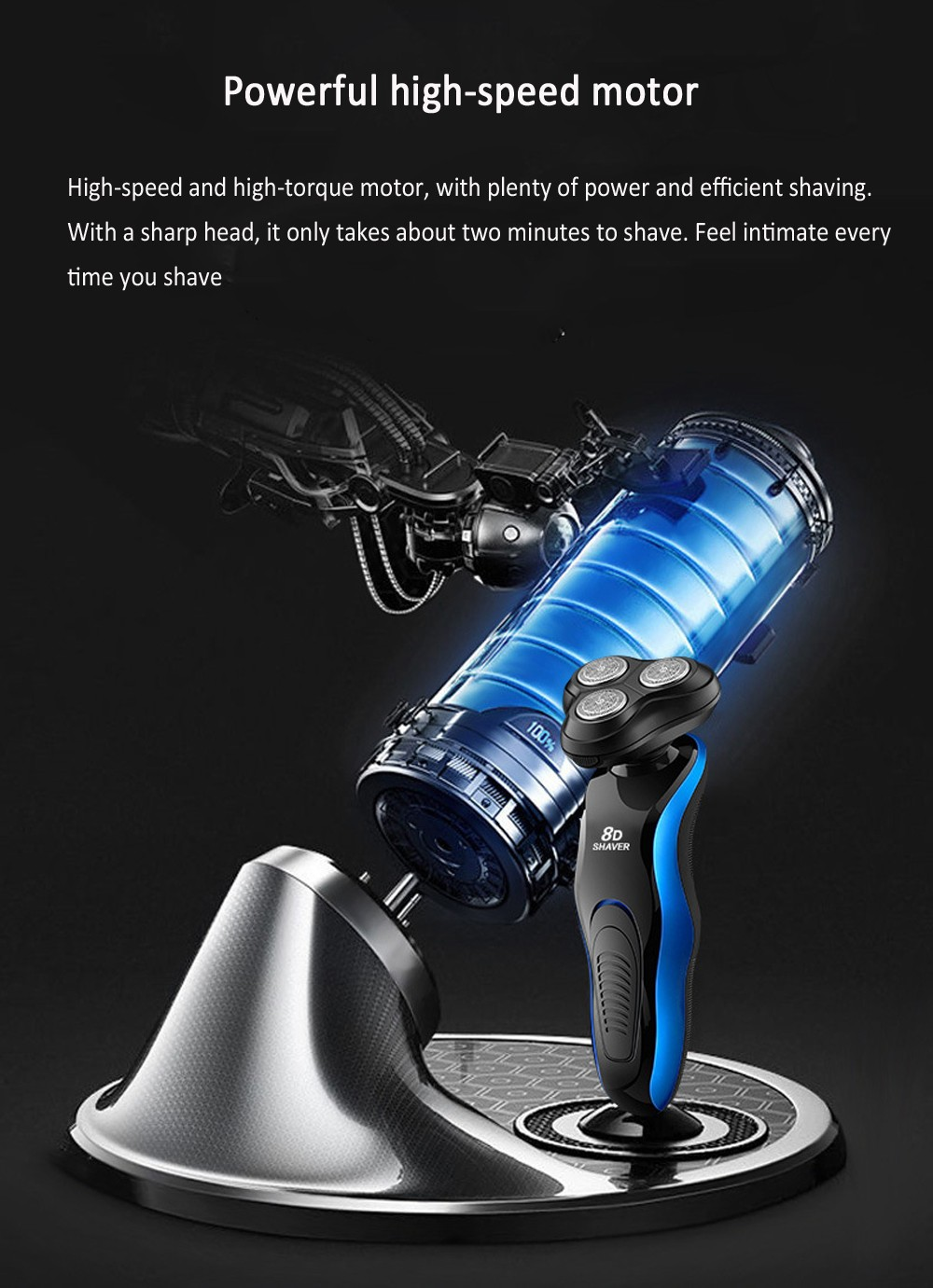 S400 8D Electric Shaver Full Body Washable Rechargeable Beard Cutter Rotary Three Blades Razor - Blue