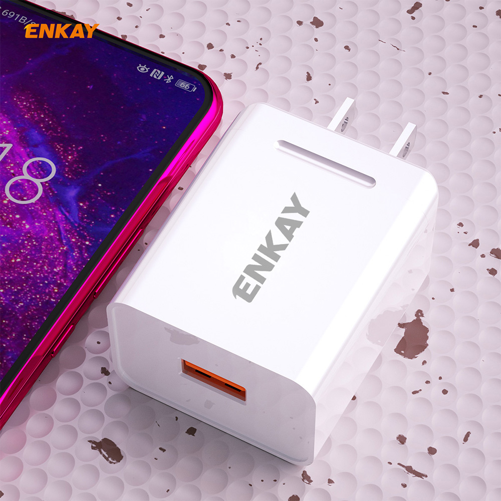 ENKAY Hat-Prince US Plug Kit USB 3.0 Fast Charging 18W 3A Charger + 1M 3A Type-C Quick Charge Cable - White