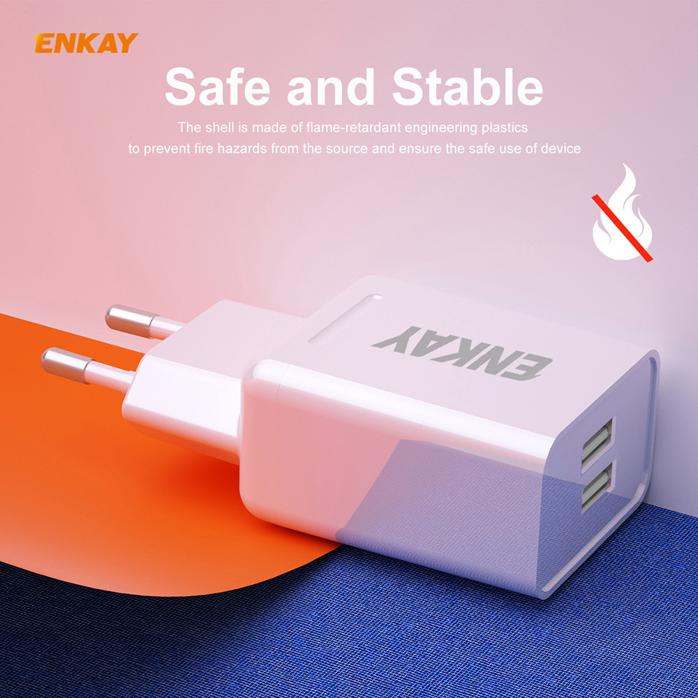 ENKAY Hat-Prince EU Plug Charging Kit Dual USB 2.0 Charging Head 10.5W 2.1A Charger + 1M 2.1A 8-Pin Charging Cable - White