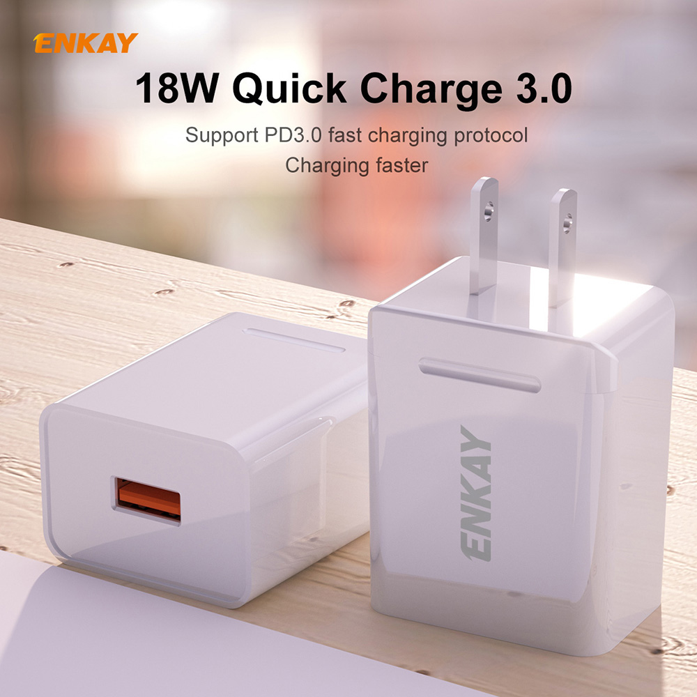 ENKAY Hat-Prince US Plug CN Plug Quick Charging Kit USB 3.0 + Type-C Double Port Charging Head 18W 3A Charger + 1M 3A Type-C Cable - White