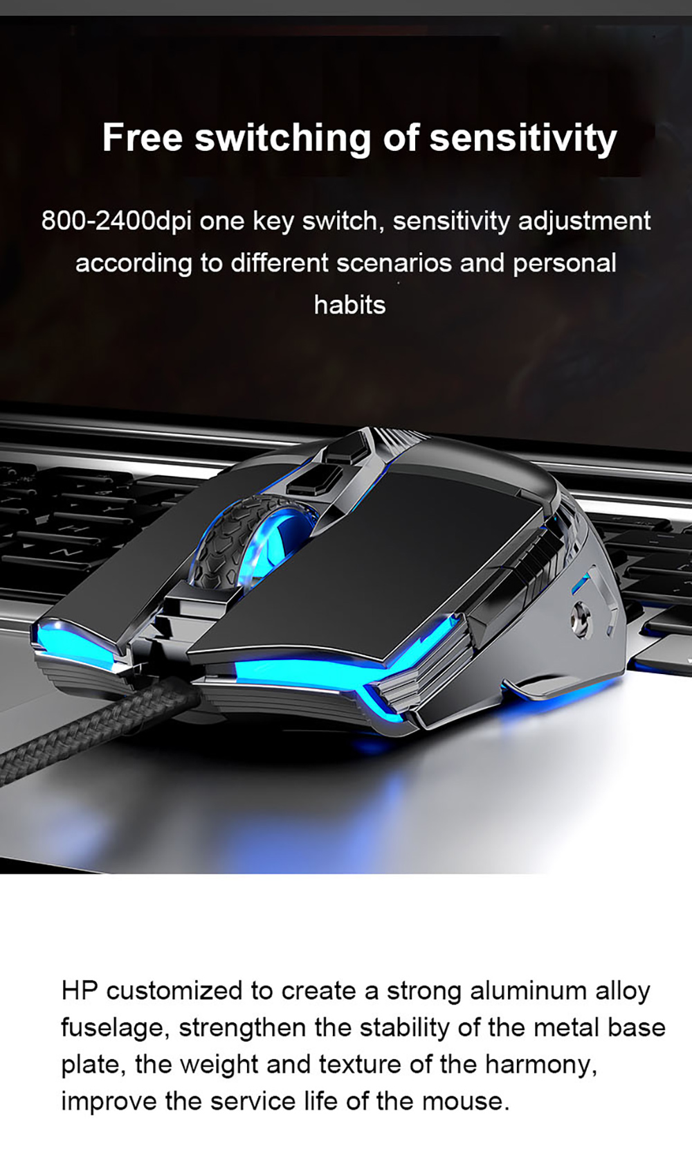 HP G160 USB Wired Gaming Mouse - Black