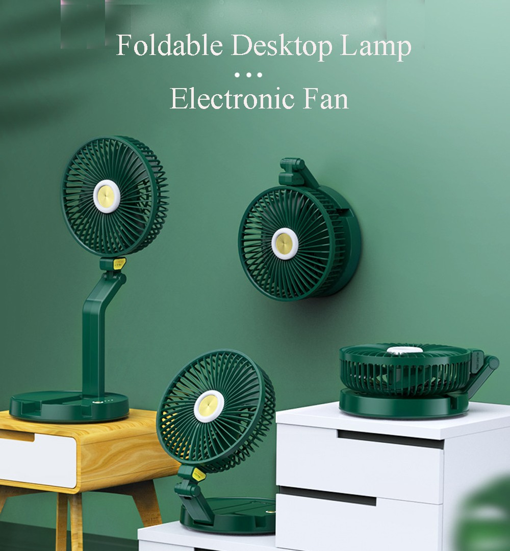 7 inch Wall Mounted Foldable Desktop Lamp Electronic Fan USB Rechargeable Telescopic Table LED Fan Light - Black