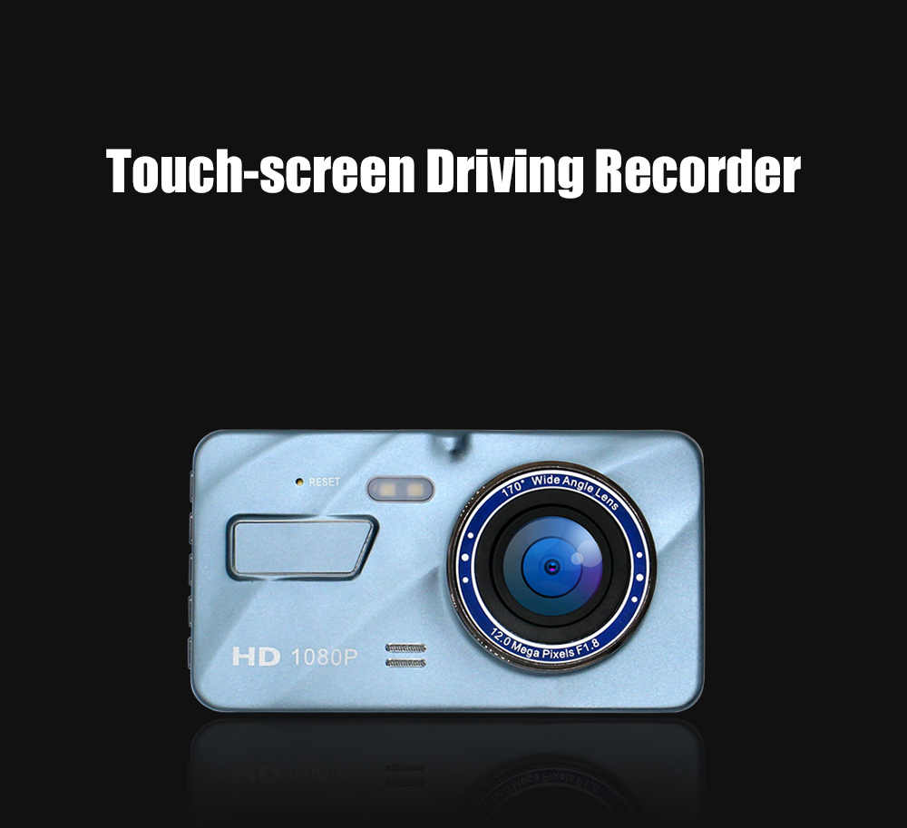 Touch Screen Car Driving Recorder HD Hidden Zinc Alloy 4-inch Dual Lens Night Vision Car DVR - Pastel Blue Dual lens without card