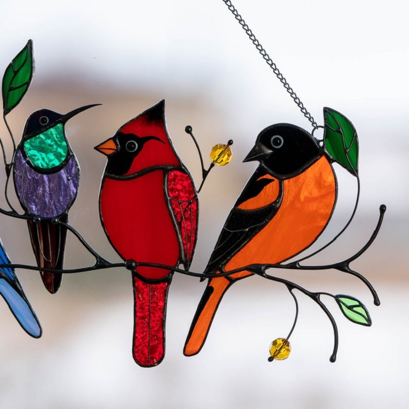Birds Stained Glass Suncatchers Window Hangings - Mother's Day Gifts - Multi-A 7 Birds