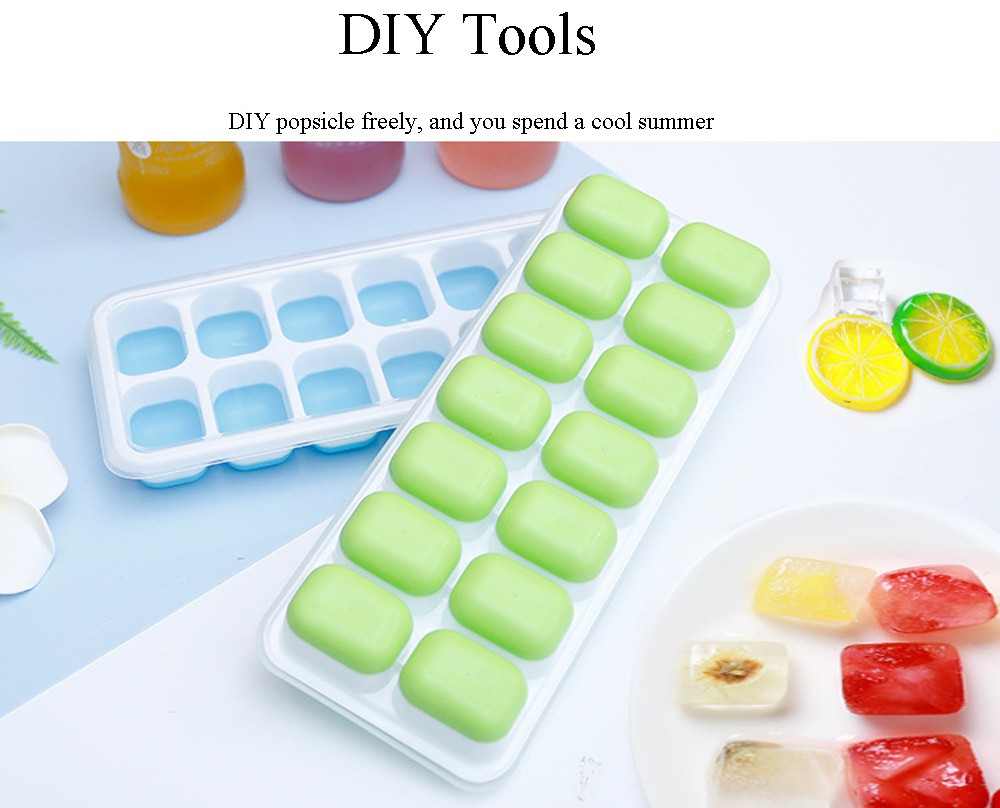 14 Grids Food Silicone PP Ice Tray Mold with Lid DIY Rice Ball Cake Grinding Tool Ice Box - Sea Blue 2pcs