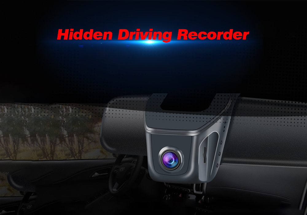 Car Screenless Hidden Driving Recorder HD WiFi Mobile Phone Interconnection APP Control Universal Car DVR - Black