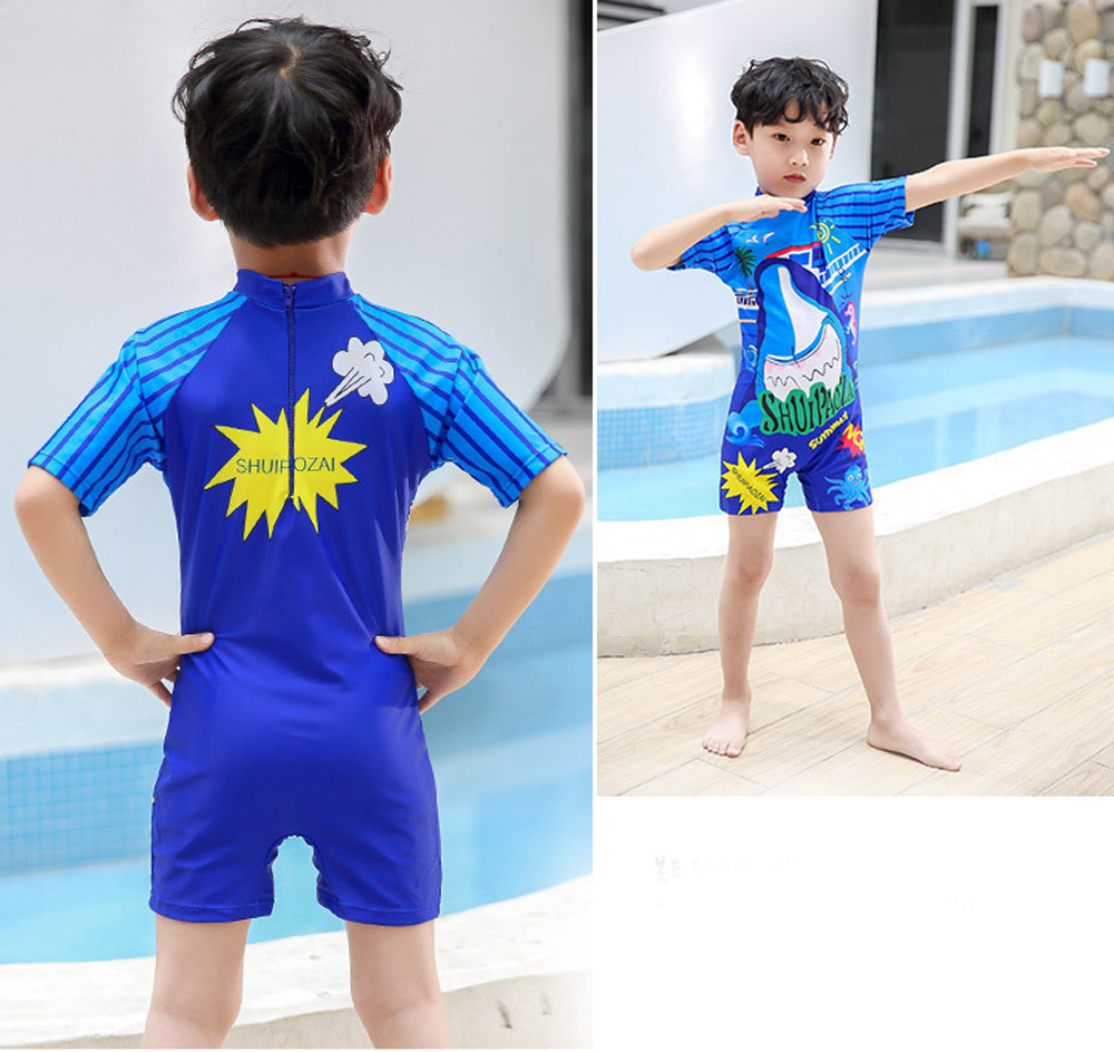 Children One-Piece Swimsuit Surfing Clothing Boy Swimwear Baby Infant Diving Swimming Training Sunscreen Swimsuit - Blue 2XL