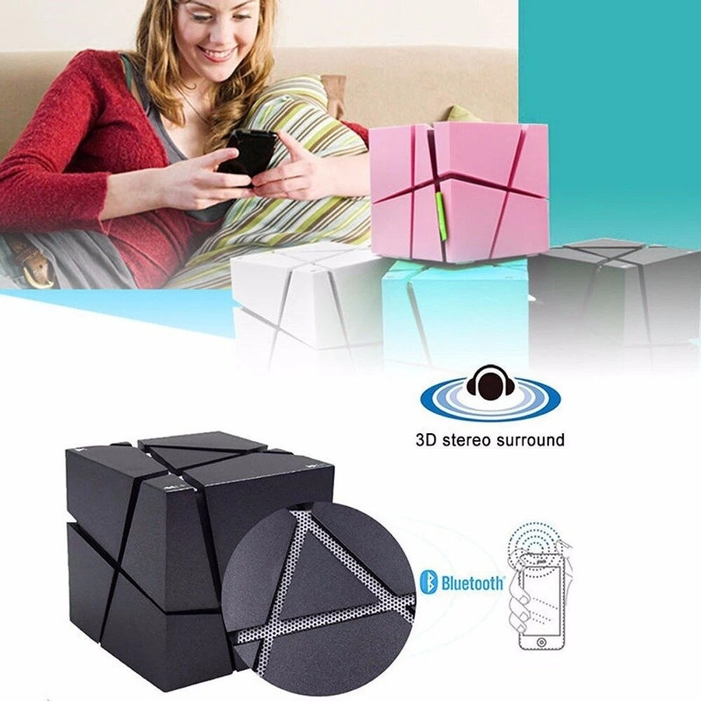 Water Cube Bluetooth Speaker Colorful Night Light - Blossom Pink