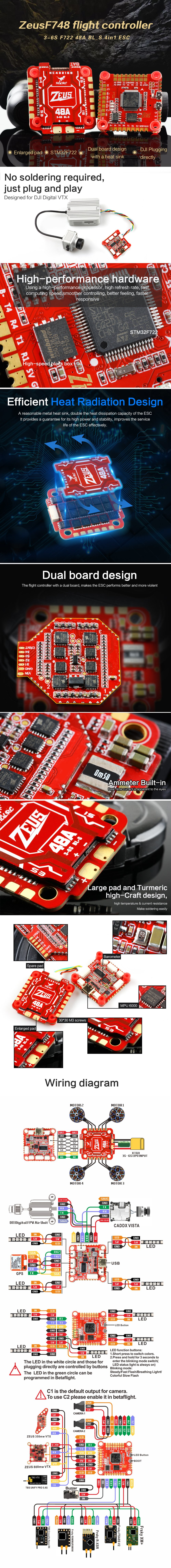 HGLRC Zeus F748 STACK 3-6S F722 Flight Controller 48A BL_S 4-in-1 ESC for FPV Racing Drone - Red Zeus F748 STACK