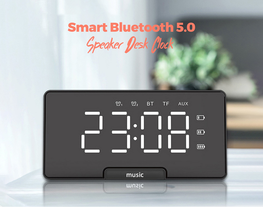 Smart Bluetooth 5.0 Speaker Elderly Desk Clock Speaker Mirror Audio Alarm Clock Hi-Fi Soundbox - White
