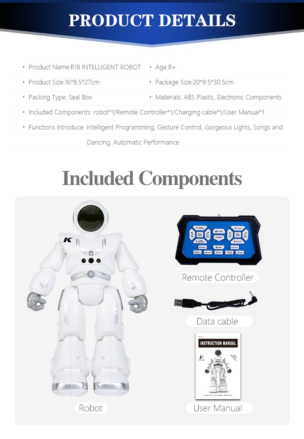 JRC R18 Children Smart Electric Remote Control Robot Toy - White