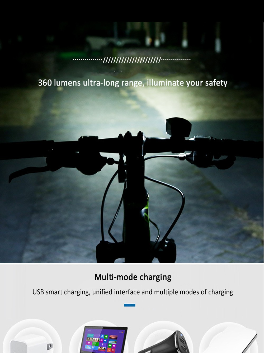 Bicycle Front Light Charging with Horn T6 Bike Light Night Riding Strong Light Flashlight - Red